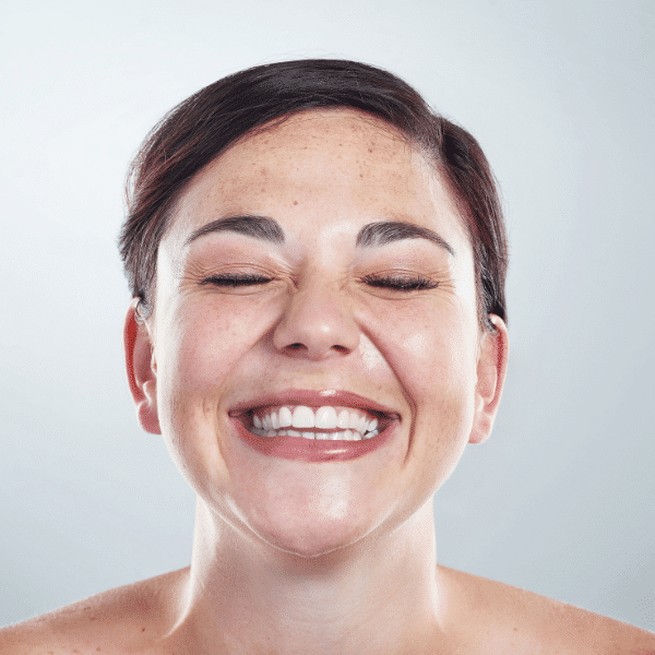 smiling woman with nice skin